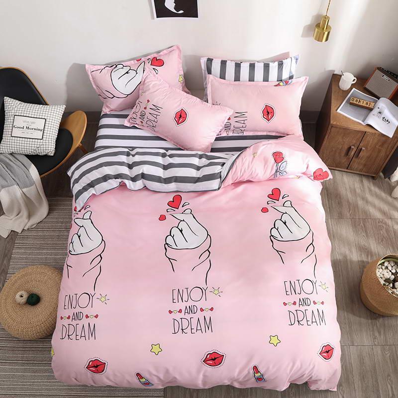 King Queen Pillowcase Sets Bedding-Set Duvet-Cover Flat-Sheet Full-Twin-Size Purple-Maple-Leaf