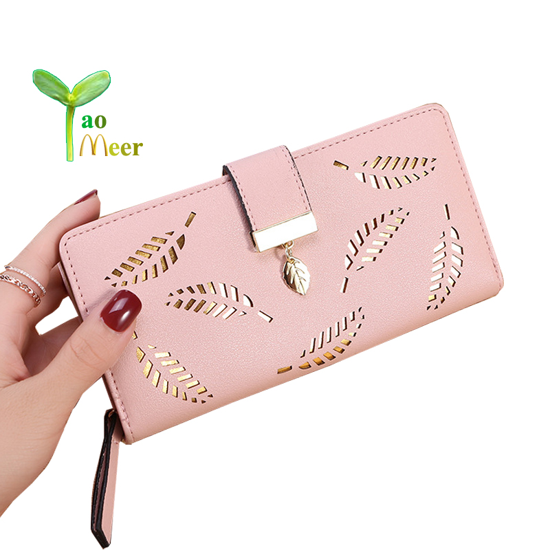 2018 Women Wallet Purse Female Long Wallets Hollow Leave Pouch Handbag For Women Coin Purses Card Holder Portefeuille Femme BY46 2018 retro women long wallet purse luxury designer coin purse card holders female handbag wallet for girl portefeuille femme