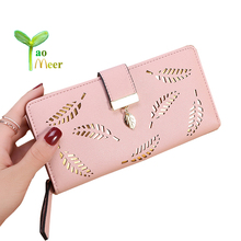 2018 Women Wallet font b Purse b font Female Long Wallets Hollow Leave Pouch Handbag For