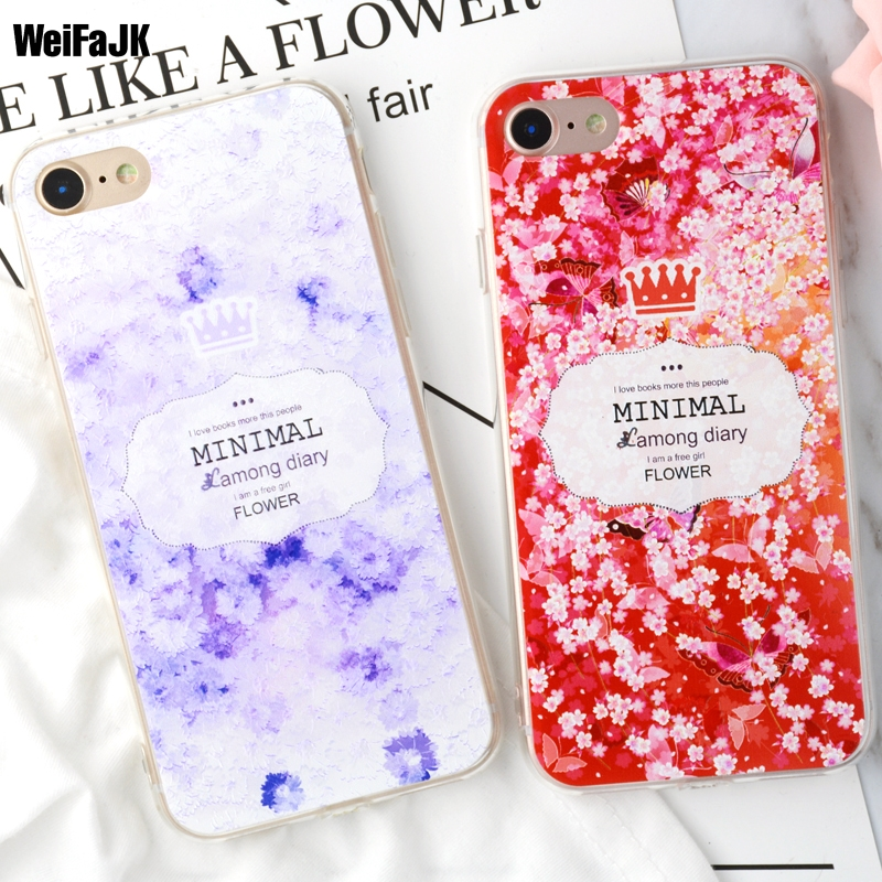 WeiFaJK Phone Case for iPhone 6 Cases Girl Relief 3D Flower TPU Silicone Clear Soft Cover for Apple iPhone 5 5s 6s 7 8 Plus Case