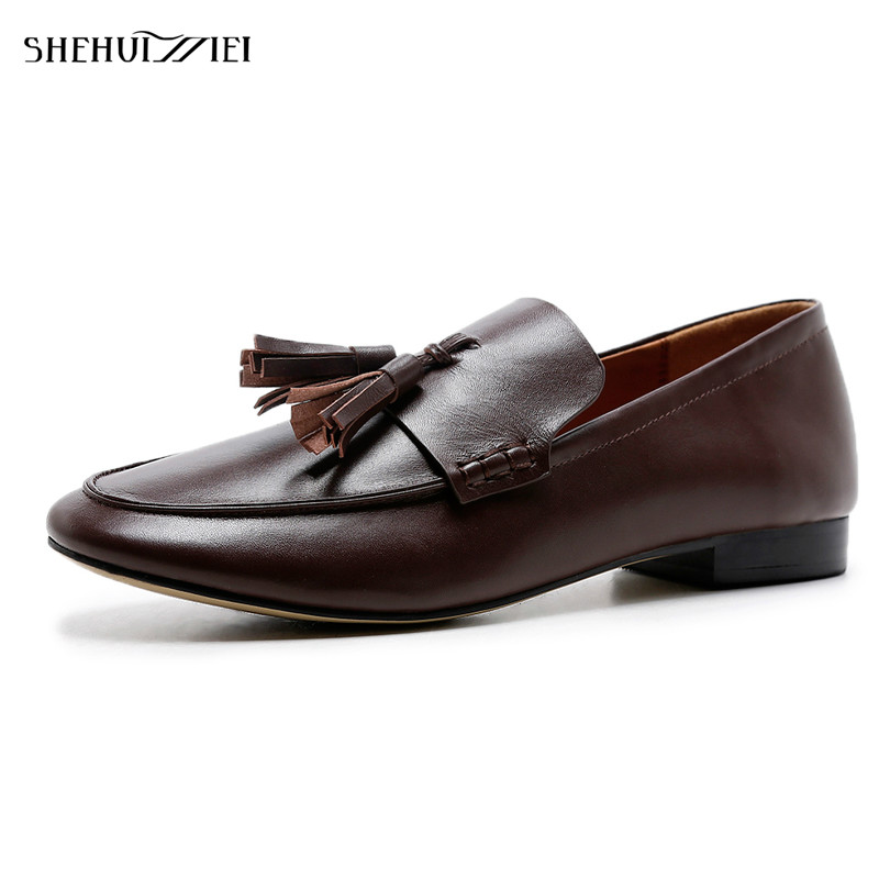 SHEHUIMEI Women Genuine Leather Flats Tassel Loafers Casual Shoes Vintage Square Toe Handmade Flats Oxfords Shoes for Women Fur 2017 new handmade women flats genuine leather oxfords shoes woman fashion ballets flats casual moccasins for women sapatos mujer