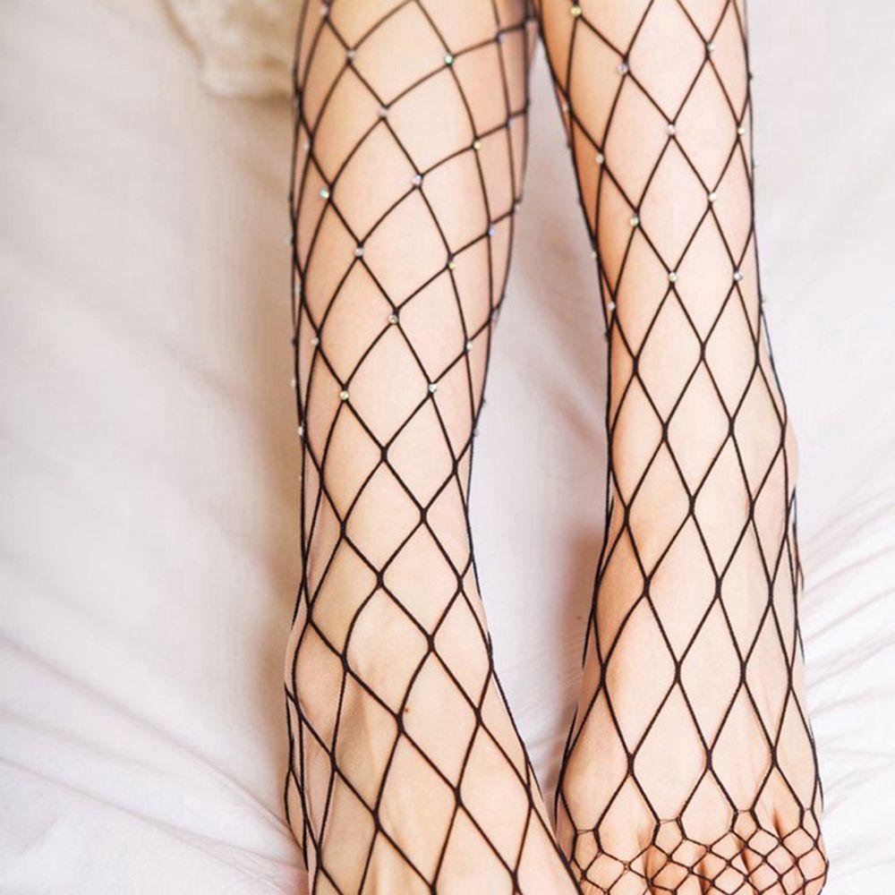 1Pair Sexy Mesh Women Lady Crystal Rhinestone Fishnet Fish Net Elastic Stocking Pantyhose Tights