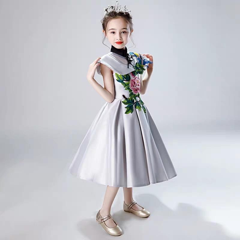 Niños Niñas de lujo chino tradicional bordado flores fiesta de noche las ceremonias de graduación vestido infantil tutú de los niños de acogida vestido - 5
