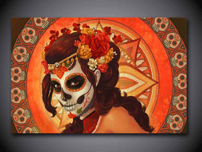 Day Of The Dead Wall Art aliexpress : buy 1 panel free shipping day of the dead face