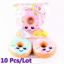10Pcs/Lot Kawaii Soft Squishy Slow Rising Jumbo Cartoon Smiley Face Donut Phone Strap Pendant Squeeze Bread Cake Scented Kid Toy(China)