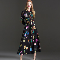 2018 summer big catwalk section long sleeve vertical collar embroidery sequined printing aristocratic temper gown dress