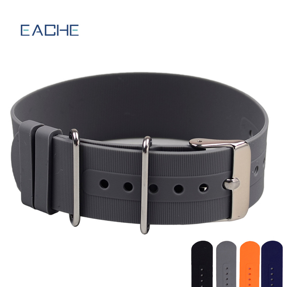EACHE Nato Silicone Rubber Watch Band 18mm 20mm 22mm Grey Orange Black Blue Waterproof Silicone Straps gj303 rhinestones 316l stainless steel couple s ring black silver size 9 7 2 pcs