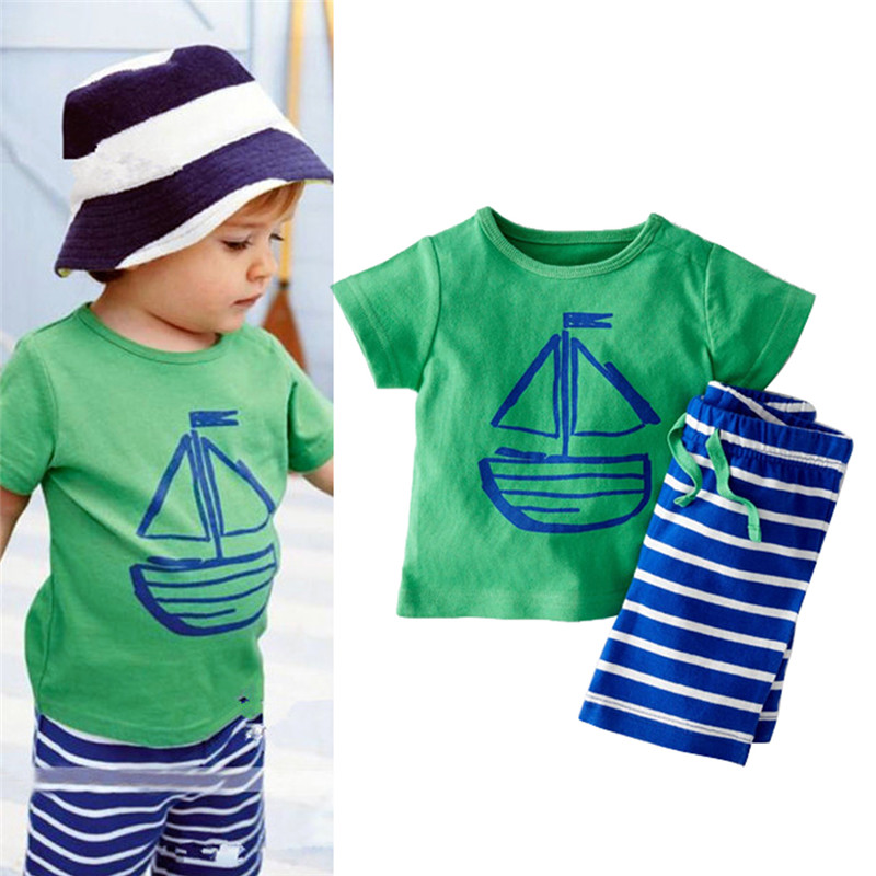 2 PCS Summer Clothing Set Cartoon Boat Printed T-Shirt Stripe Shorts Children Baby Boy Clothes NKL075 1set retail hot 2015 children clothing set casual boy s beach set t shirt shorts 2 pcs for summer baby set freeshipping