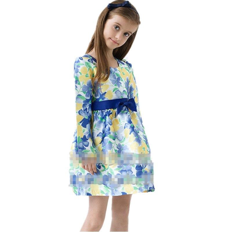 Primavera Otoño Vestido de niña Vestido floral Estampado de manga - Ropa de ninos - foto 2