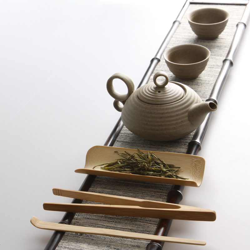 Natural bamboo 3 pcs Tea tools set Include needle clip tray vintage handmade kung fu tea
