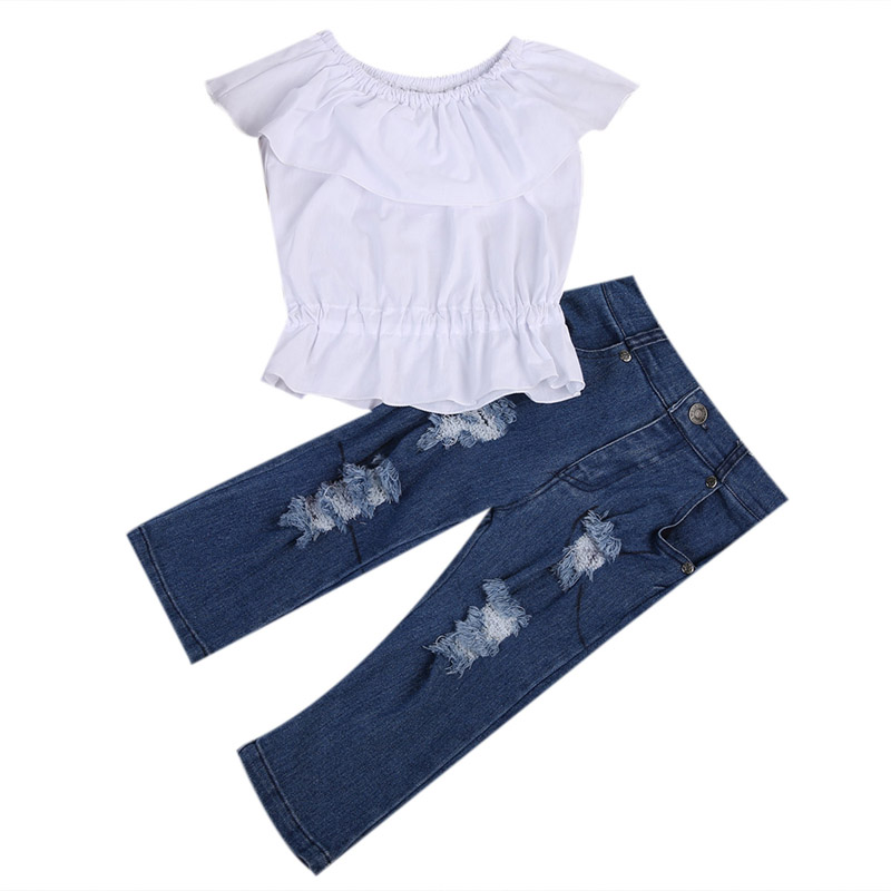 New Fashion Baby Girl Kid White Cropped Tops Tank Top Off Shoulder T-shirt Tee Clothes+Jeans Pants Outfit toddler kid baby girl clothes set 3 pcs infant off shoulder blouse tops denim hole pants jeans headband outfits clothes