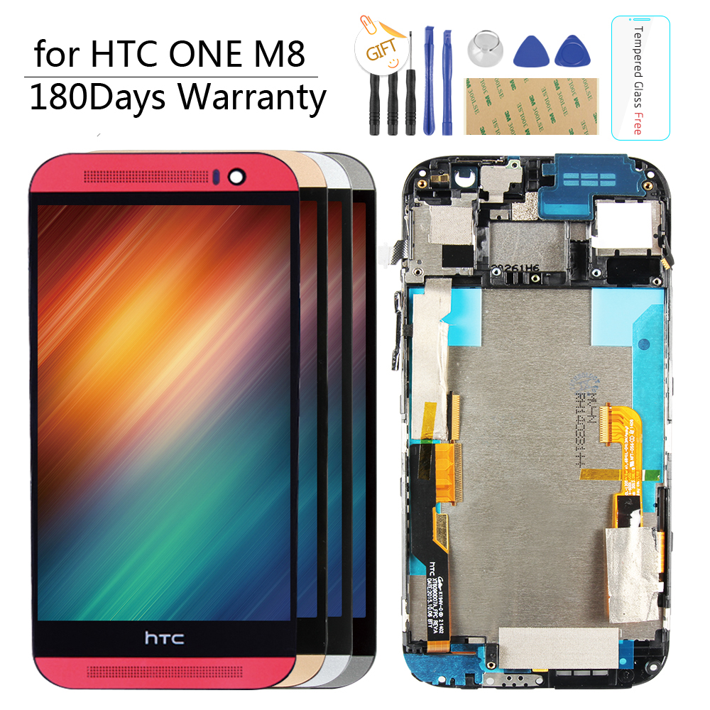 Original 5 1920X1080 Display For HTC ONE M8 LCD Touch Screen with Frame M8 Display Digitizer Assembly Replacement Parts 831c
