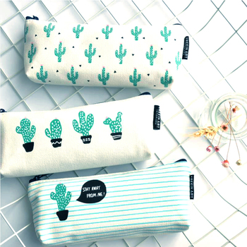 Cactus Pencil Case Canvas School Supplies Kawaii Stationery Estuches Chancery School Cute Pencil Box Pen Bags