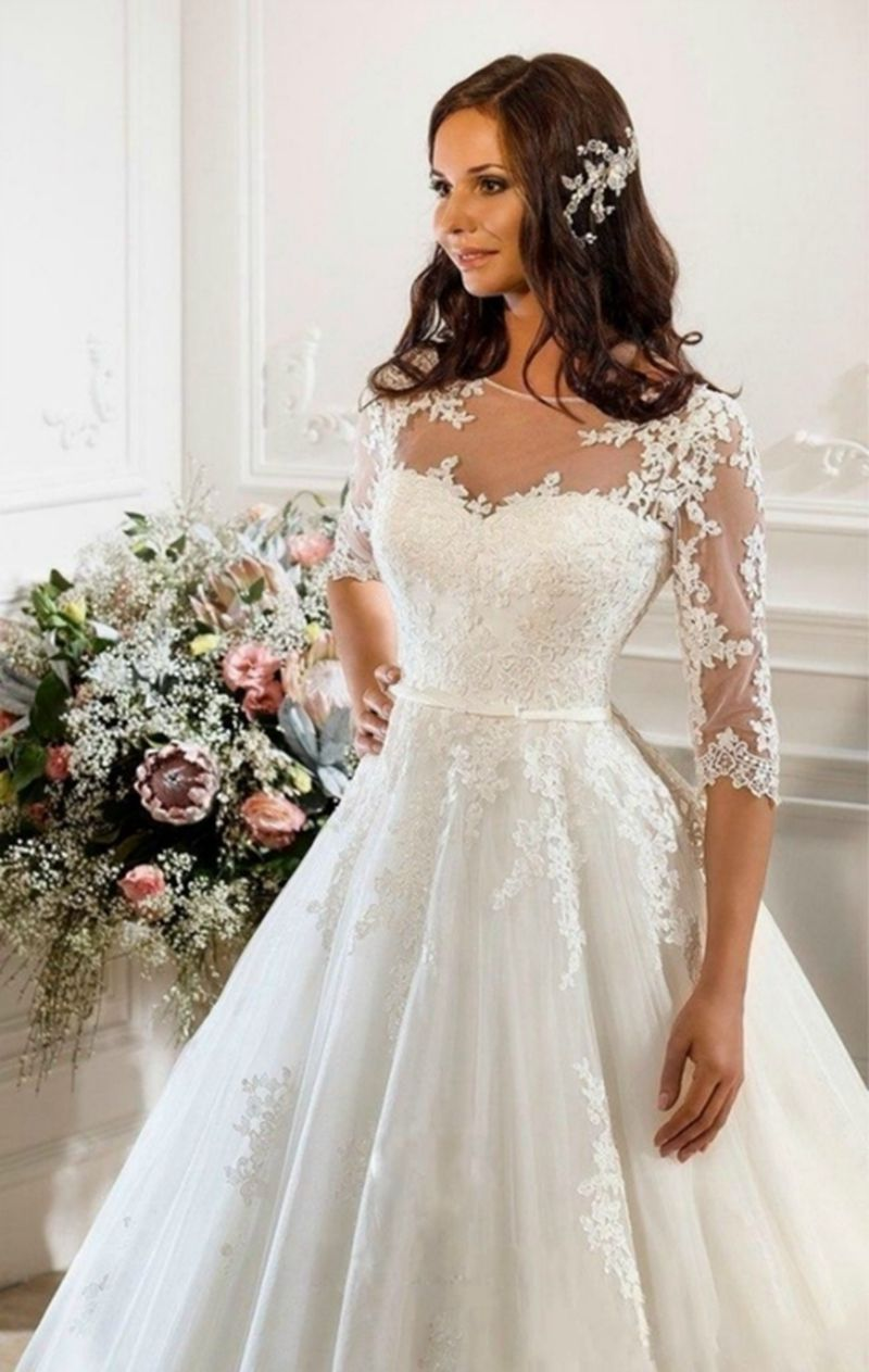 Vintage Ivory Lace Wedding Dress With Sleeves Plus Size Princess ...
