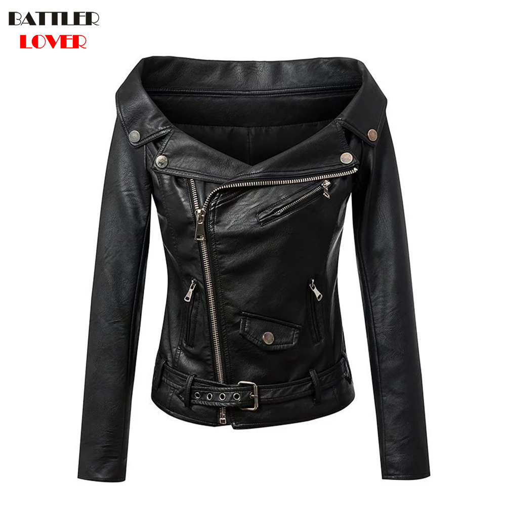 BATTLERLOVER Women Long Sleeve Boat Neck Leather Jacket Zipper Rivet Luxury Designer Slim Flight Jacket Coat Winter Outwear 2017
