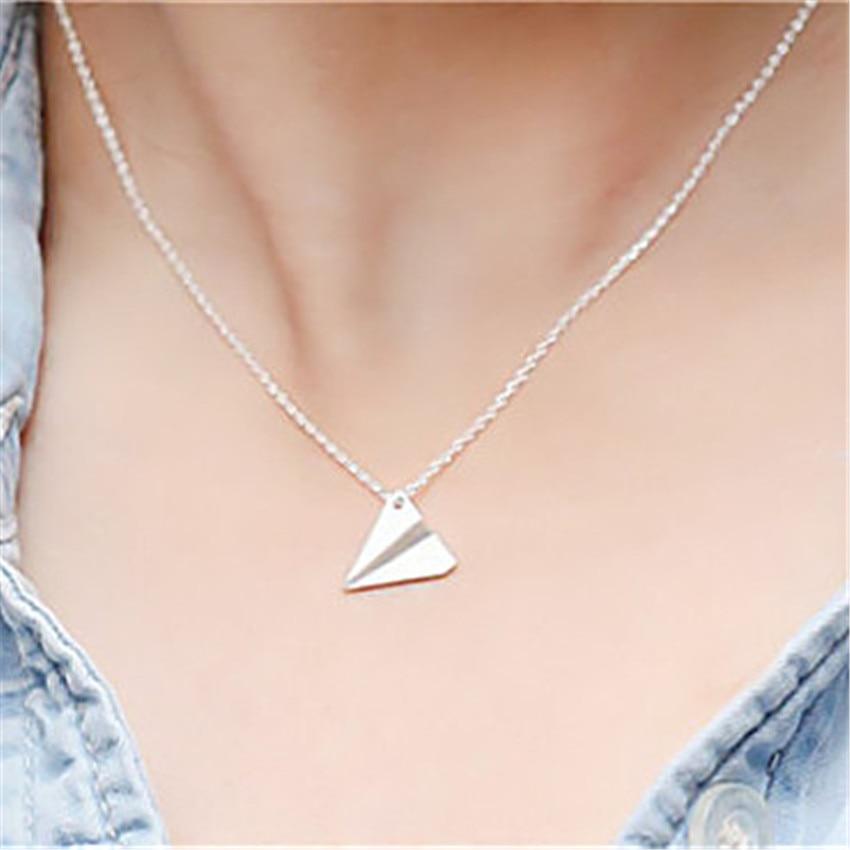 Retro Aircraft Paper Plane Pendants Necklace Chain Women Jewelry