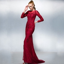 Luxury Crystals Long Sleeve evening new hot saree Beading red lace Mermaid Prom