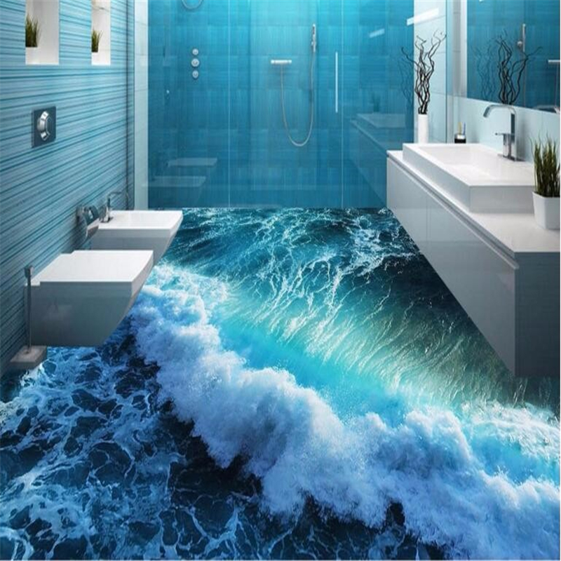 Beibehang Custom 3d flooring waves painted floor super green on the bathroom floor wall papers home decor 3d wallpaper flooring self adhesive wallpaper 3d flooring waterfall dolphin waterproof kitchen sticker 3d flooring pvc wall papers home decor