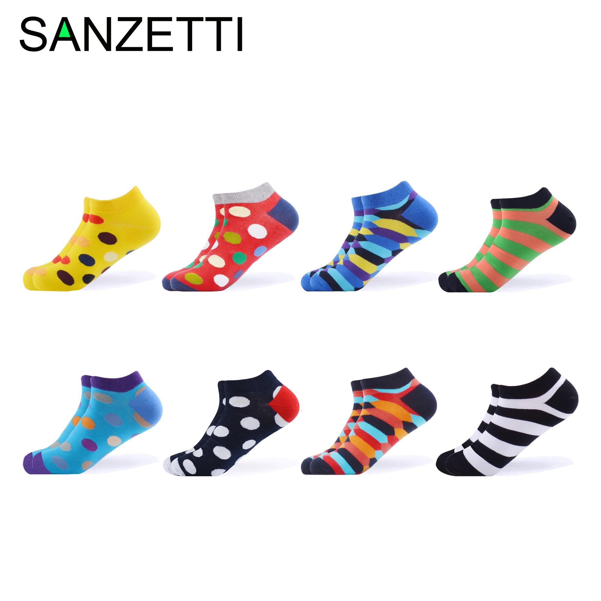 Underwear & Sleepwears Anzetti 6 Pairs/lot Men Women Casual Ankle Socks Combed Cotton Socks Black White Red Plaid Stripes Geometric Pattern Boat Socks