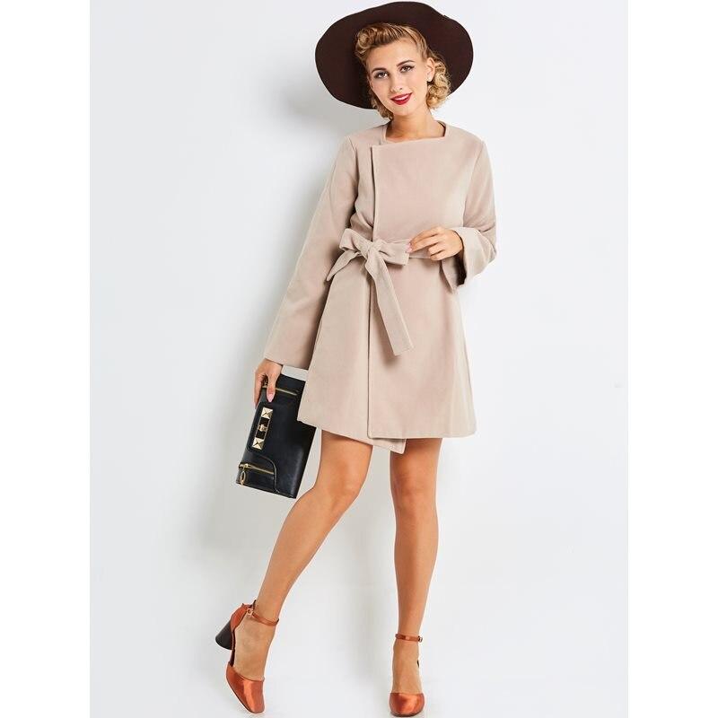 À Solide Preppy Femmes Lacets Femelle Mode Laine Décontracté Vintage Ceinture Rétro Office Lady Abricot Manteaux Apricot Élégant Printemps De qqgvFpP