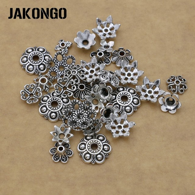 Mixed Antique Silver Plated Flower Bead Caps for Jewelry Making Bracelet Accessories Findings DIY 150pcs/lot
