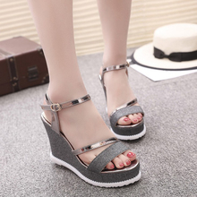 Women's Sandals Round Head Wedge Roman Sandals Buckle Comfortable High Heels PU Ladies Evening Gold Silver Black Sandals Shoes все цены