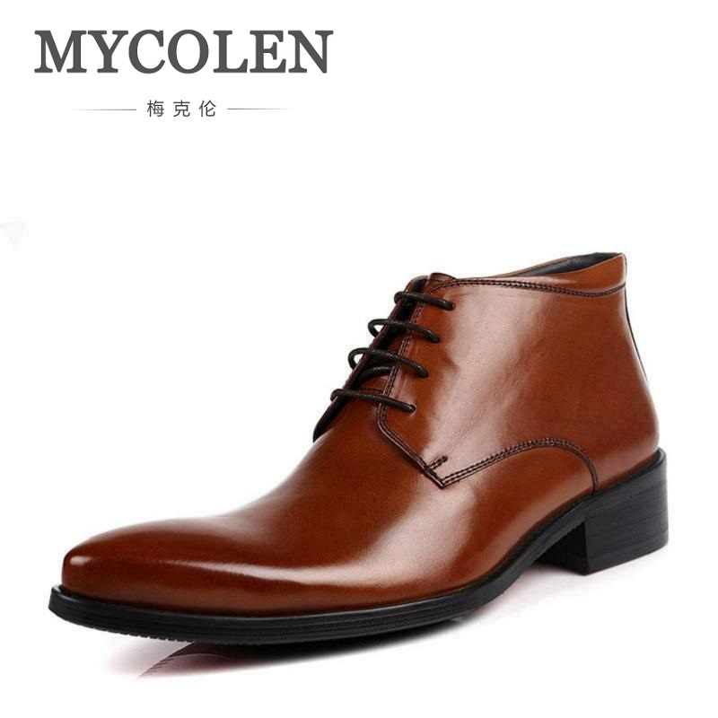 MYCOLEN Genuine Leather Ankle Boots Men Winter Boots Round Toe Real Leather Work Boots High Top Men Shoes Plus Size 38-44