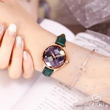 GUOU Mulheres De Ouro de Luxo Relógios de Quartzo Pulseira De Couro Fino 12mm Micro Pave CZ Ladies Relógios de Pulso Relógio Feminino À Prova D' Água 66620 P