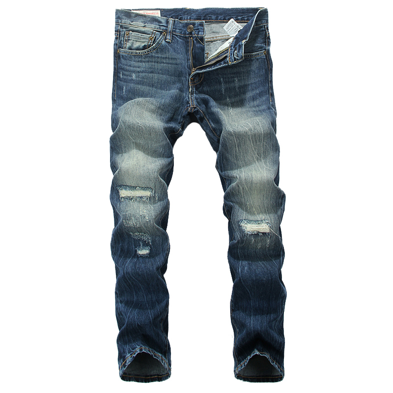 High Quality Slim Straight Destroyed Ripped Jeans Mens Pants Blue Color Denim Stripe Jeans Classic Retro Design Street Jeans Men classic mid stripe men s buttons jeans ripped slim fit denim pants male high quality vintage brand clothing moto jeans men rl617