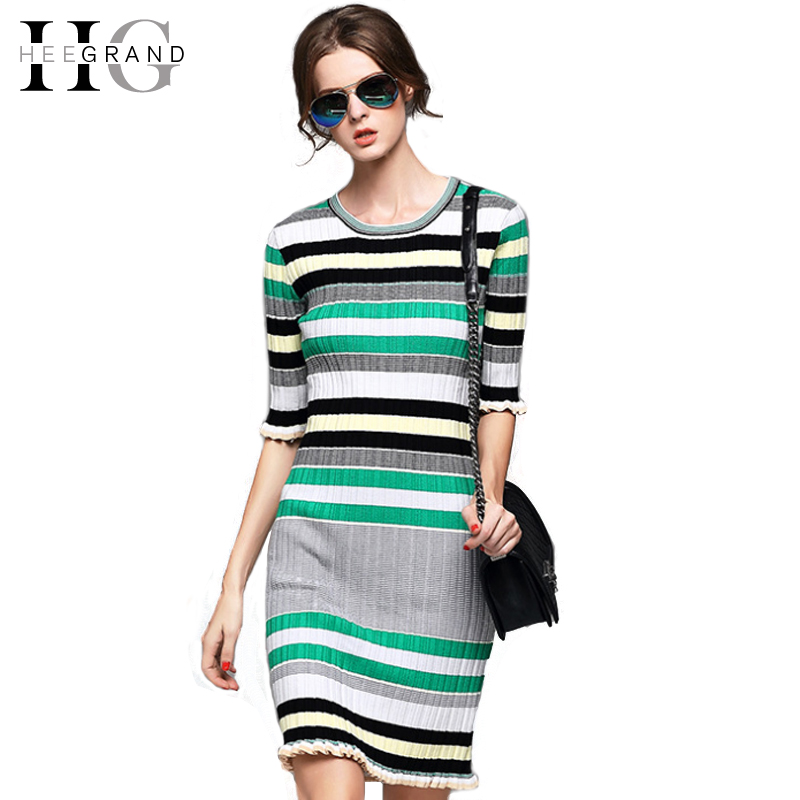 HEE GRAND 2018 Spring Autumn Striped Sweater Women Dress Ruffles Half Sleeve Slim Vestidos Knee-Length Casual Dresses WZQ173