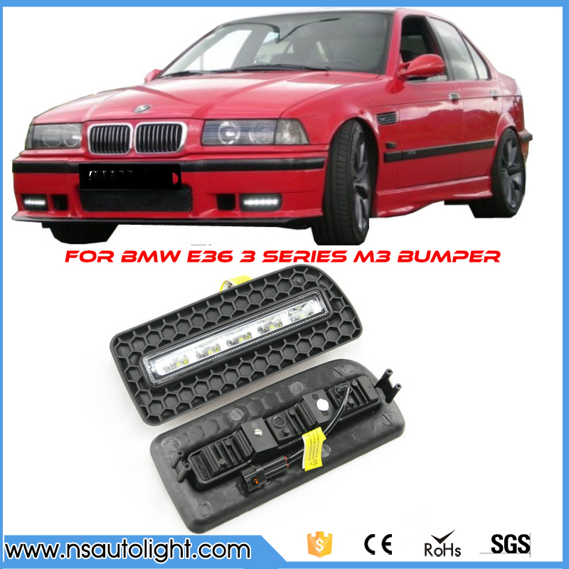 ONE pair DRL For BMW E36 M3 or 3 Series w M Bumper 10W High Power LED Daytime Running Lights brand new led daytime running lights for bmw e90 e91 3 series 2009 2012 m tech m high power front bumper fog daylights drl