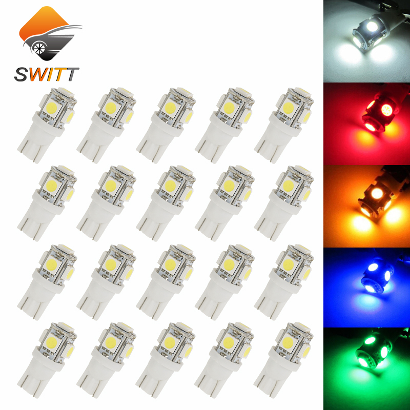 10PCS T10 5SMD DC 12V 1W 5050 192 168 194 W5W white/blue/red/green/yellow Xenon LED Light Wedge Bulb Lamp For Car styling scoe t10 w5w dc12v 20smd 5050led car styling led light bulb source blue crystal blue green red yellow white warm white 168 194