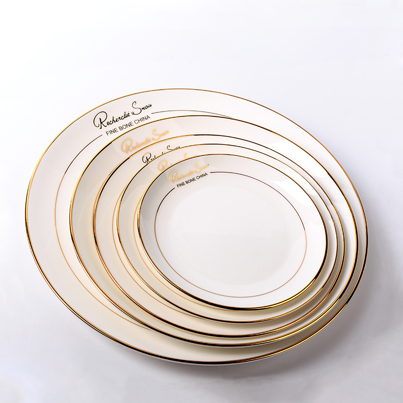European Style White On-glazed Ceramic Bone China Western Beef Vegetables Plate Dish Hotel Tableware Gold Plated Rim Gift Saucer
