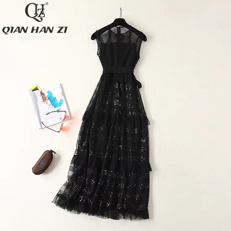 Qlan Han Zi 2019 nuevo verano diseñador pasarela Maxi vestido sin mangas de las mujeres de encaje con lentejuelas Retro negro vestido largo - 3