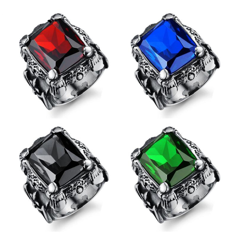 2019 Hot multi colored Onyx stone Rings men 39 s Vintage zircon ring Personality titanium steel ring Cubic Zirconia stone jewelry in Rings from Jewelry amp Accessories