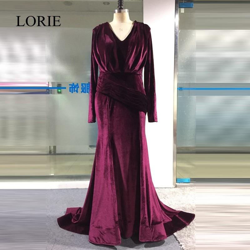 LORIE   Prom     Dresses   Long Sleeve Purple Mermaid Evening   Dress   Plus Size V Neck Elegant Women Formal Party   Dress   Robe longue 2018