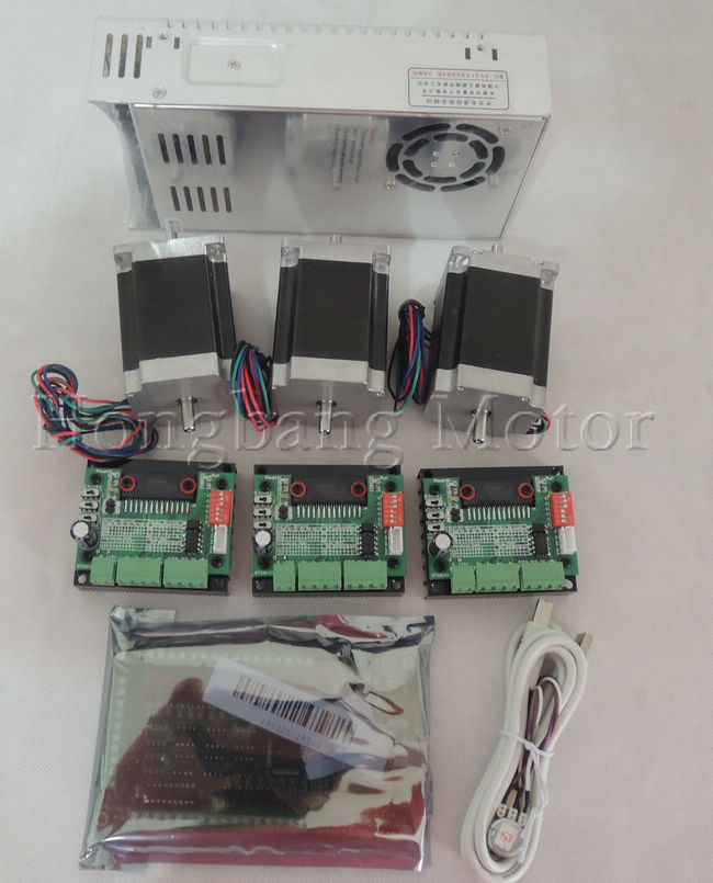 Mach3 USB CNC Router Kit 3 Axis, 3pcs stepper motor driver + mach3 USB interface board + 3pcs nema23 stepper motor +power supply