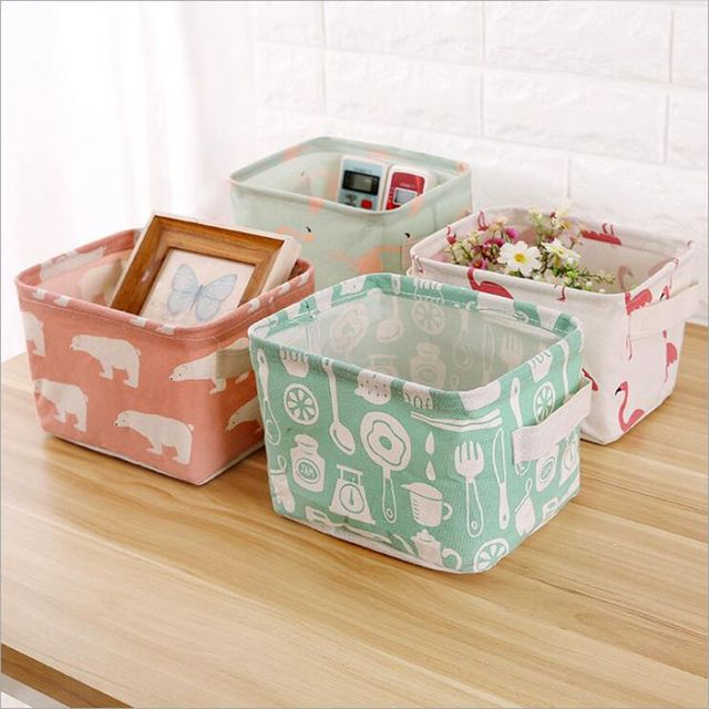 Nordic Style Desktop Storage Basket Printing Waterproof Storage Box