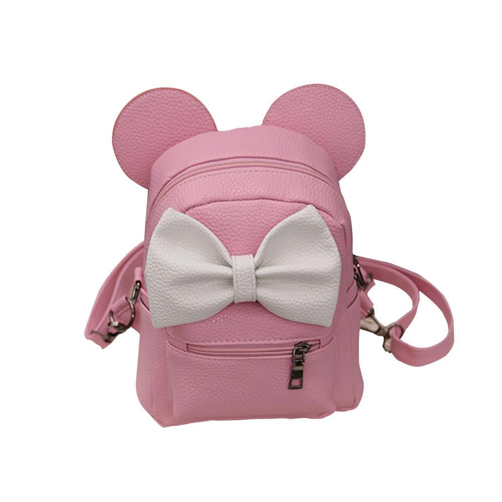 2018 New Mickey Backpack Pu Leather Female Mini Bag Women's Backpack Sweet Bow Teen Girls Backpacks School Lady Bag Shoulder bag