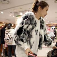 Plus Siz5xl 6XL Customized size Women Mixed Color Faux Fur Coat Fluffy Winter Fur Jacket ladies Shaggy Short Outwear Coats S28