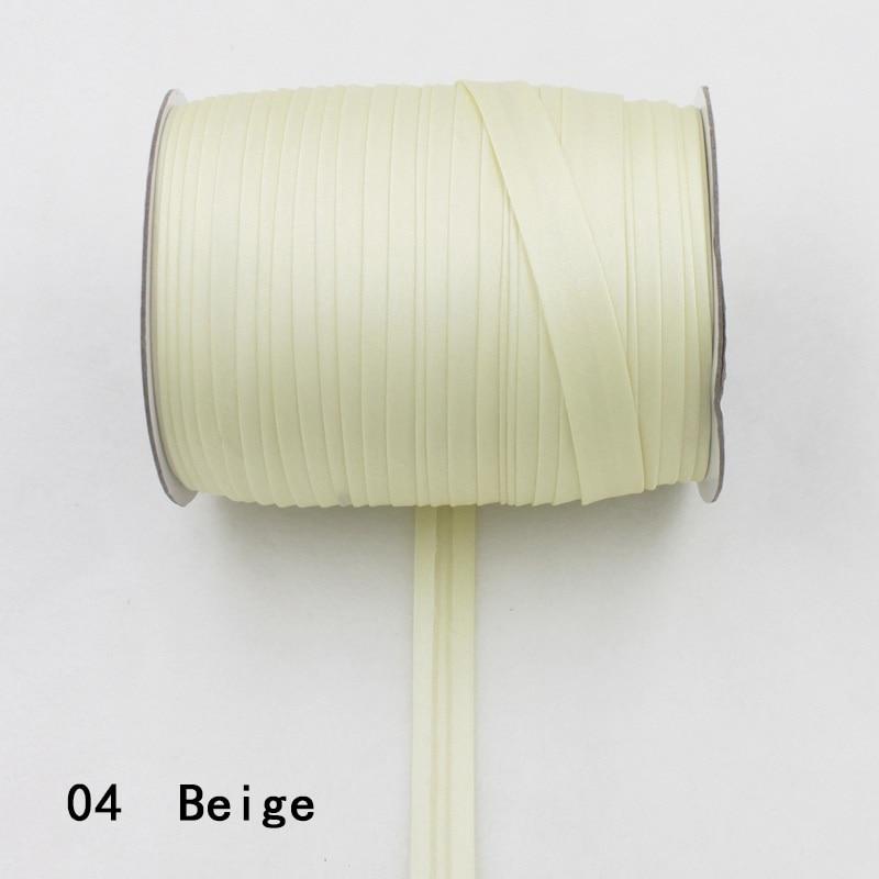 """100 ярд полиэстер 5/""""(15 мм) атласная косая лента косая Привязка сплошной цвет для пошив одежды «сделай сам» и обрезки - Цвет: 04    beige"""