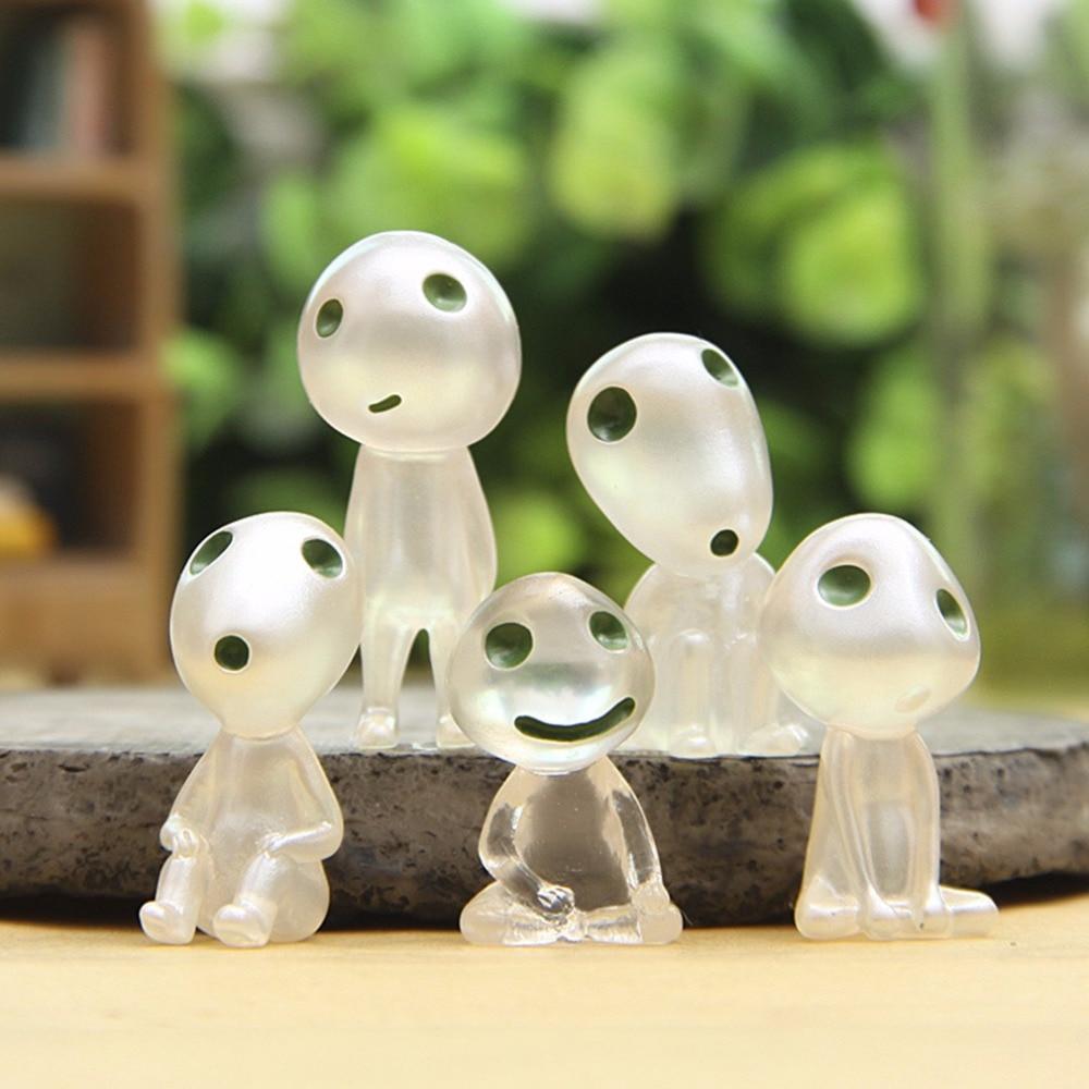 Nuovo 5 Pz/set Kawaii Luminoso Albero Elfi Toy Miyazaki Fumetto Principessa Mononoke Action Figure Giocattoli Per Bambini Regalo di Natale Light up giocattoli