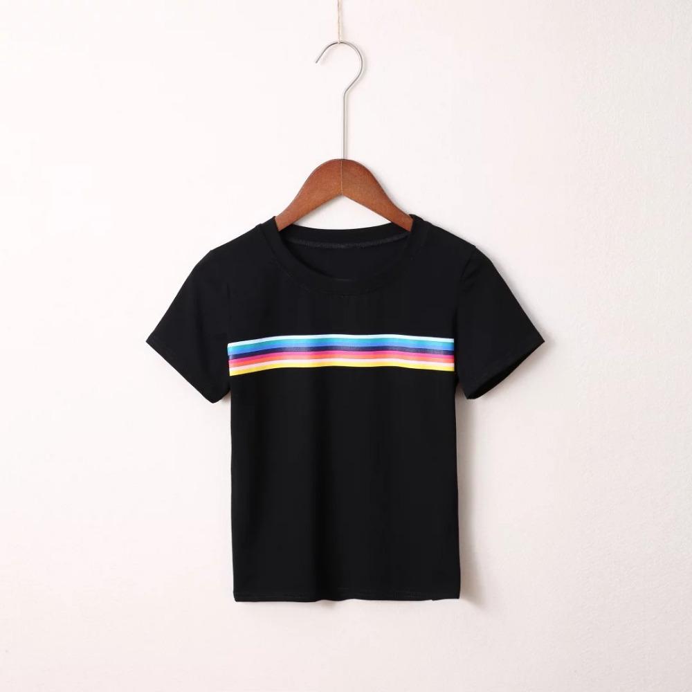 HTB14xBbQXXXXXbZXpXXq6xXFXXXp - Rainbow Stripes Crop T-shirt PTC 141