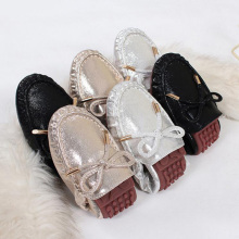 gold silver sequined foldable ballet shoes woman bowtie flats glitter  leather bow espadrilles women loafers 1ec9bfe20dfb