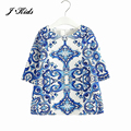 2016 New 3-8T European style girls clothes fashion half sleeve autumn summer blue and white retro pattern dress for girls