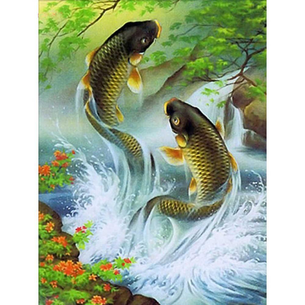 3D Diamond Painting Carp Fish Embroidery Rhinestone Cross Stitch Home Decoration
