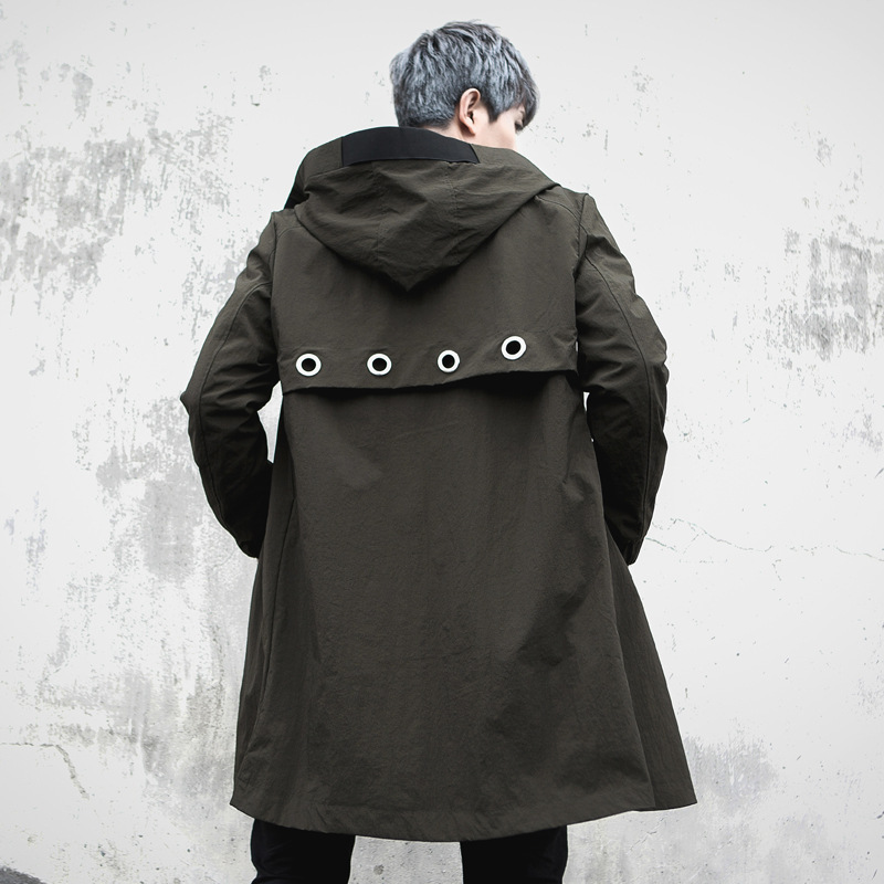 Male High Street Hip Hop Fashion Casual Windbreaker   Trench   Jacket Men's Hooded   Trench   Coat Spring Autumn Mens Long Overcoat