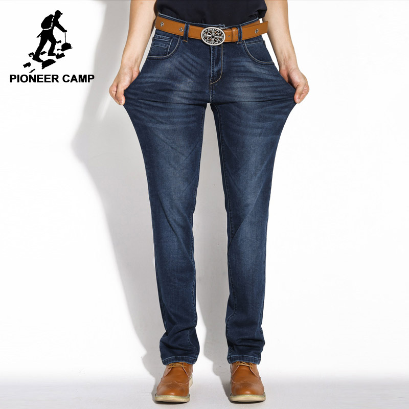 Pioneer Camp new men jeans brand clothing thick dark blue denim trousers male straight elastic high quality casual pants 471522A women girls casual vintage wash straight leg denim overall suspender jean trousers pants dark blue