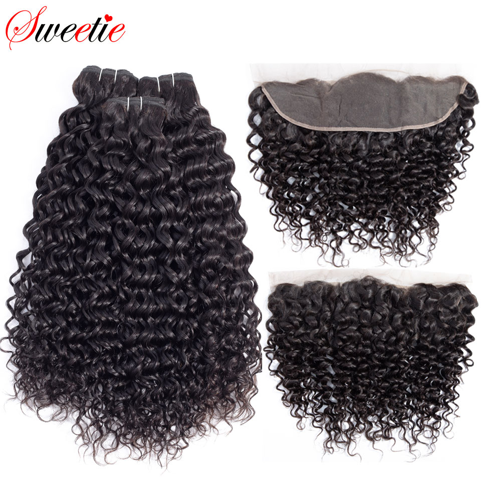 Sweetie Indian Water Wave Bundles with Frontal Closure 13x4 Lace Frontal with Bundles Non Remy Human