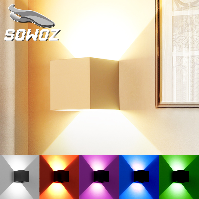 SOWOZ 12W LED wall light lamp Adjustable light angle rail project Square lamp bedside room bedroom wall lamps arts